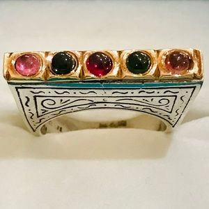 Konstantino Silver/18k Gold Ring with Gemstones